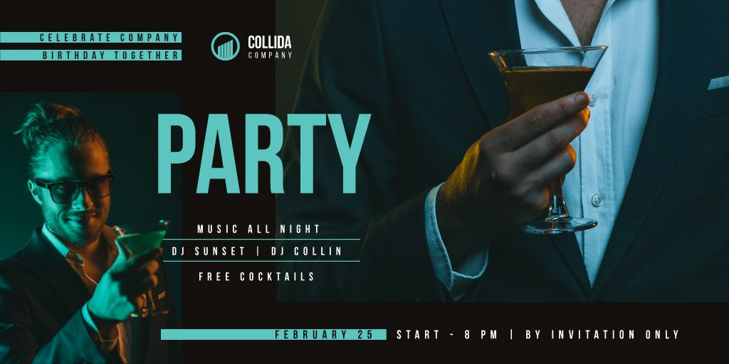 Party Invitation with Man in Suit with Cocktail — Створити дизайн