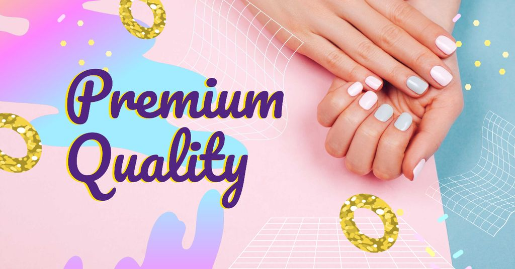 Hands with Pastel Nails in Manicure Salon Facebook AD Design Template