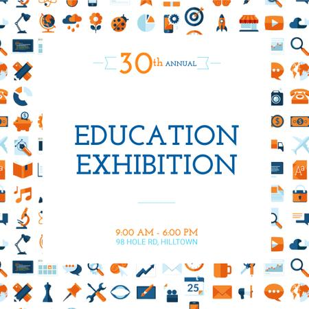 Bright education and sciences icons Animated Post Modelo de Design