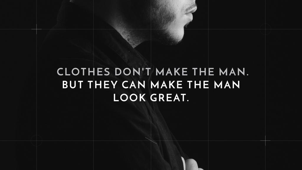 Fashion Quote with Businessman Wearing Suit in Black and White — Crear un diseño