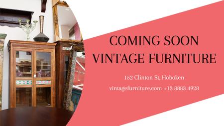 Vintage Furniture Shop Ad Antique Cupboard FB event coverデザインテンプレート