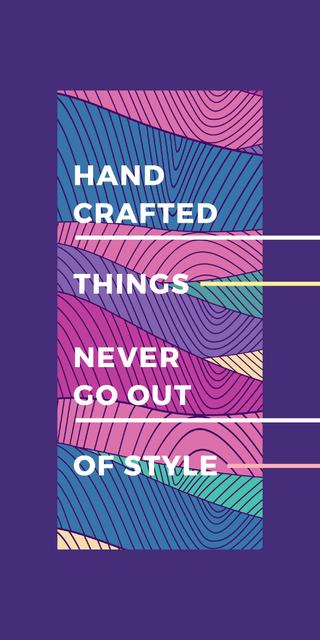 Handcrafted things Quote on Waves in purple Graphic – шаблон для дизайна