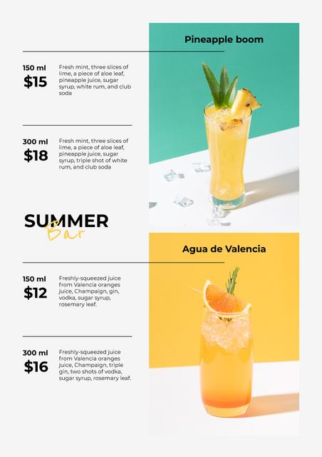Ontwerpsjabloon van Menu van Summer Tropical Cocktails