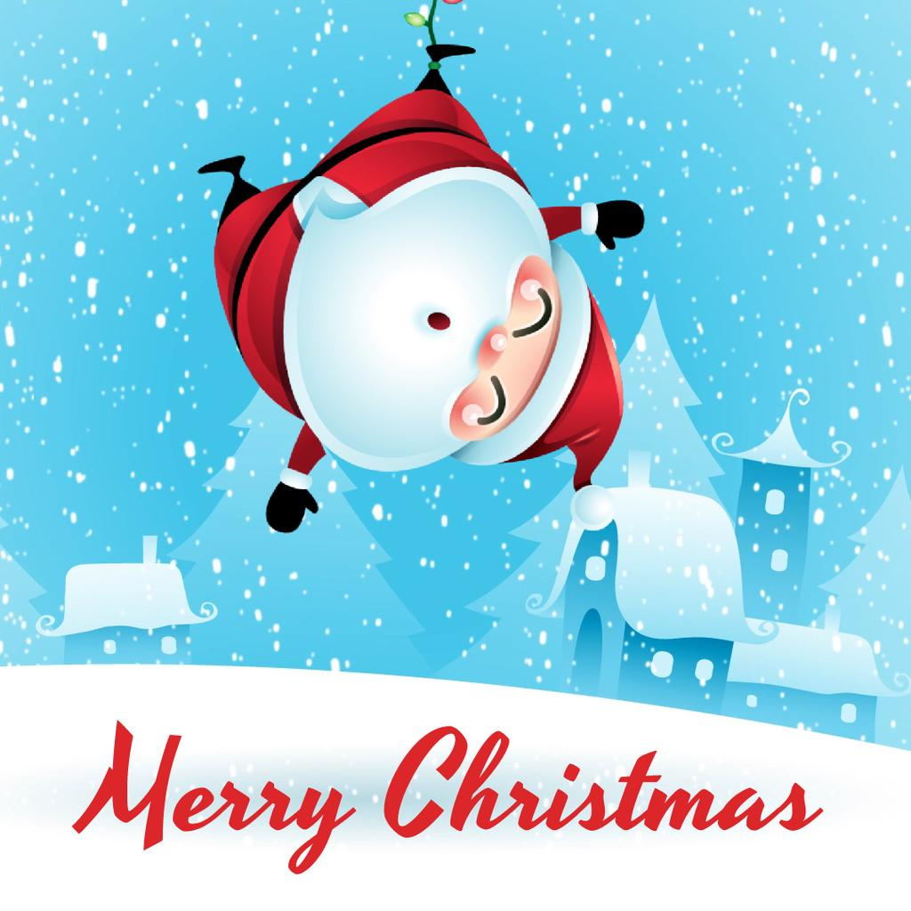 Christmas with Funny hanging Santa Claus — Create a Design