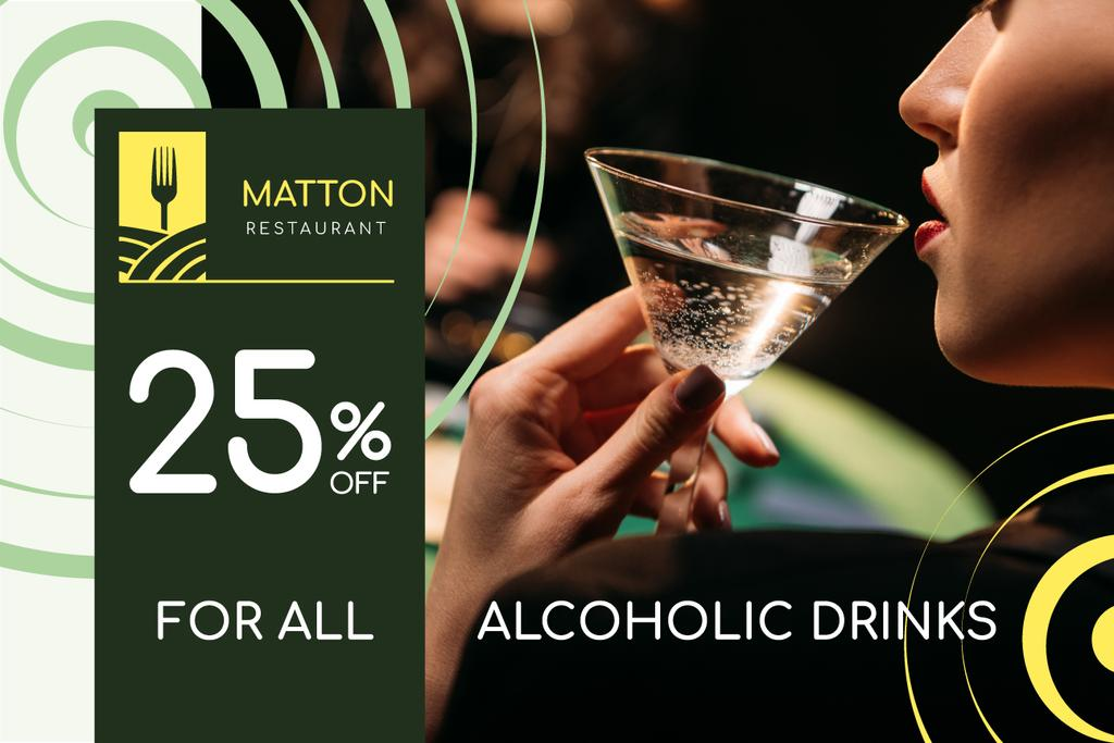 Restaurant Offer with Woman Drinking Cocktail — Створити дизайн