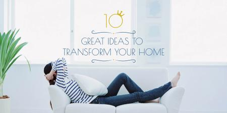 Ontwerpsjabloon van Twitter van Home transformation concept with Woman on Sofa