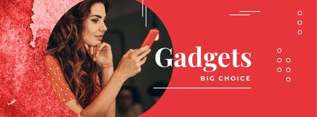 Woman using smartphone in red Facebook cover Modelo de Design