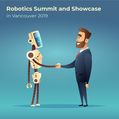 Ontwerpsjabloon van Animated Post van Robot and businessman shaking hands