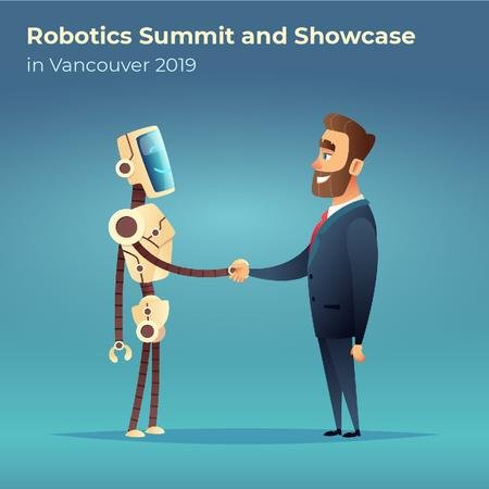 Robot and businessman shaking hands Animated Postデザインテンプレート