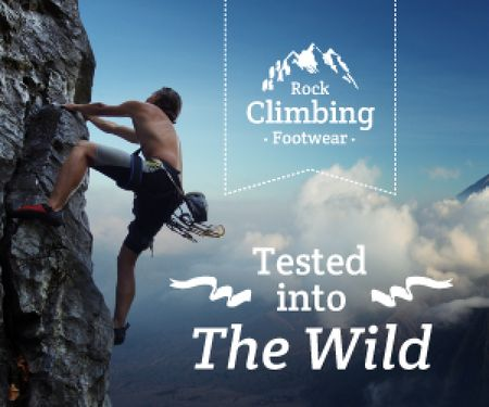 Template di design advertisement poster for rock climbing footwear store Medium Rectangle