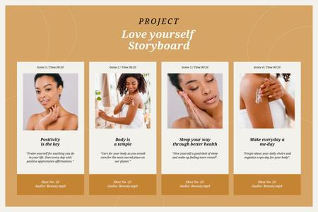 Beauty and Selfcare concept Storyboard Modelo de Design
