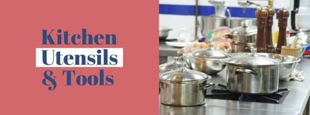 Plantilla de diseño de Kitchen Utensils Store Ad Pots on Stove Facebook cover