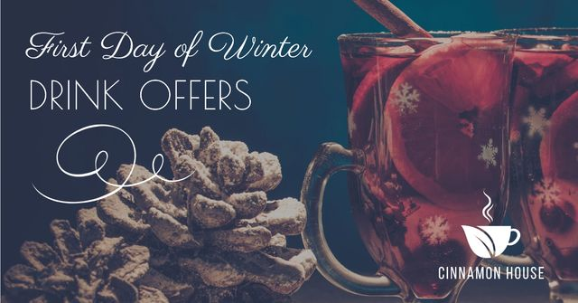 Plantilla de diseño de First day of winter offers with Mulled Wine Facebook AD