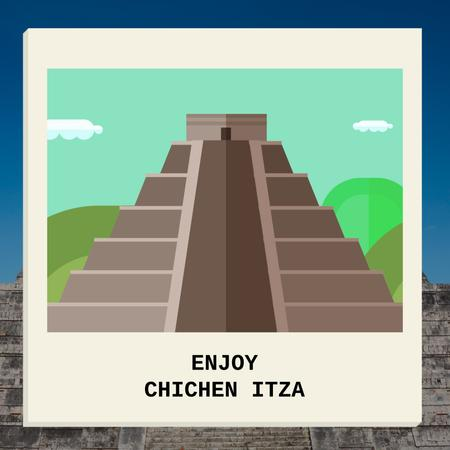 Designvorlage Chichen Itza famous sights für Animated Post