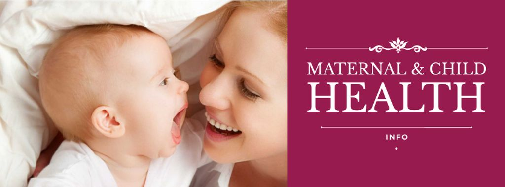 Maternal and child health with Mom smiling to Baby — Создать дизайн