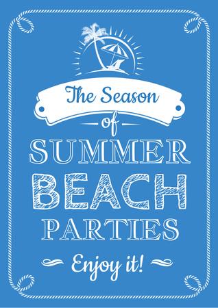 Summer beach parties Annoucement Poster Design Template