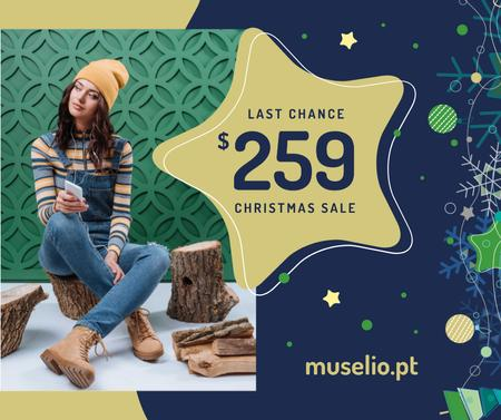 Christmas Sale Girl in Denim Overalls Facebook Modelo de Design