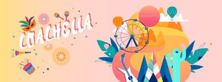 Coachella festival attributes in camp Facebook Video cover – шаблон для дизайну