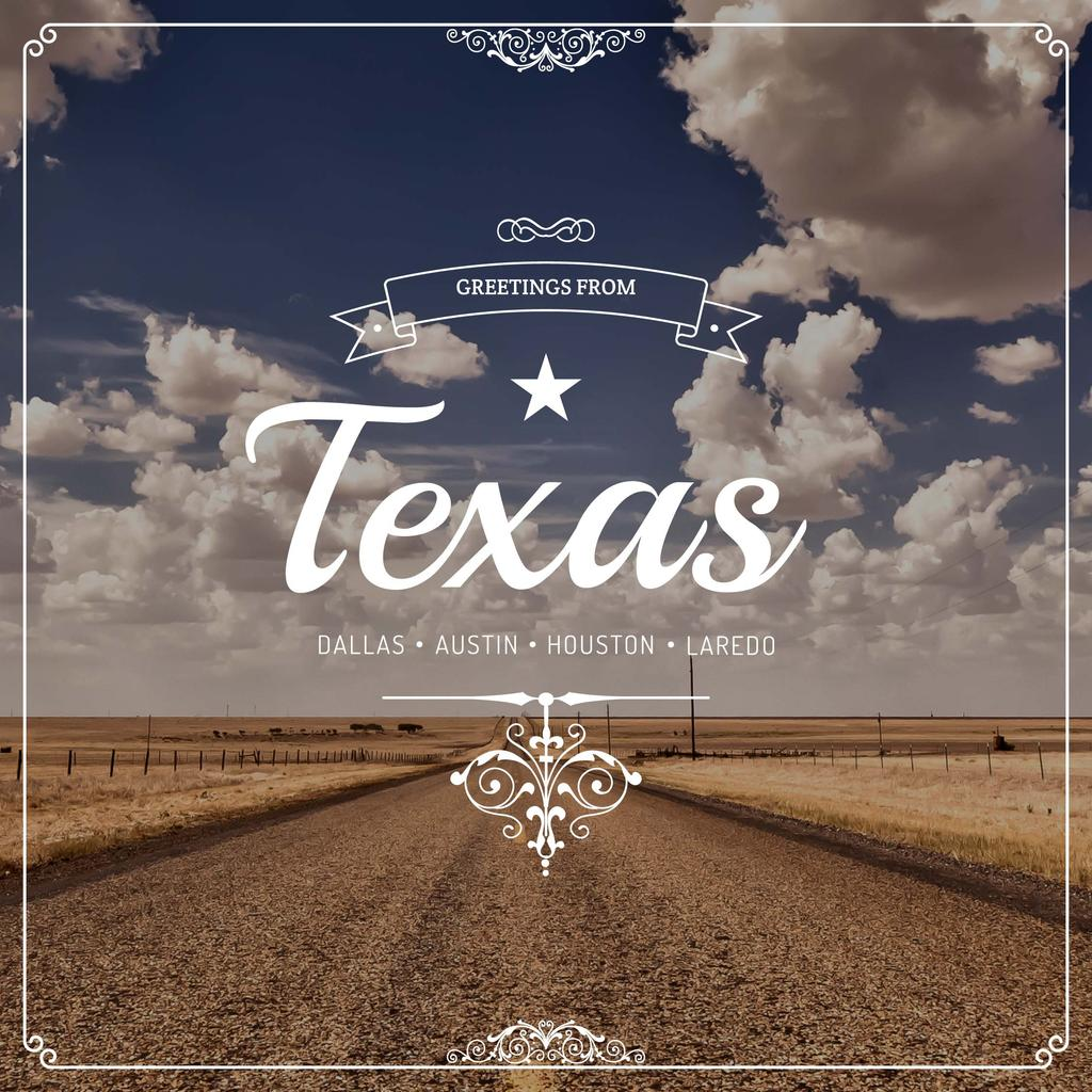Template di design Greetings from Texas with road view Instagram AD