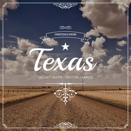 Plantilla de diseño de Greetings from Texas with road view Instagram AD