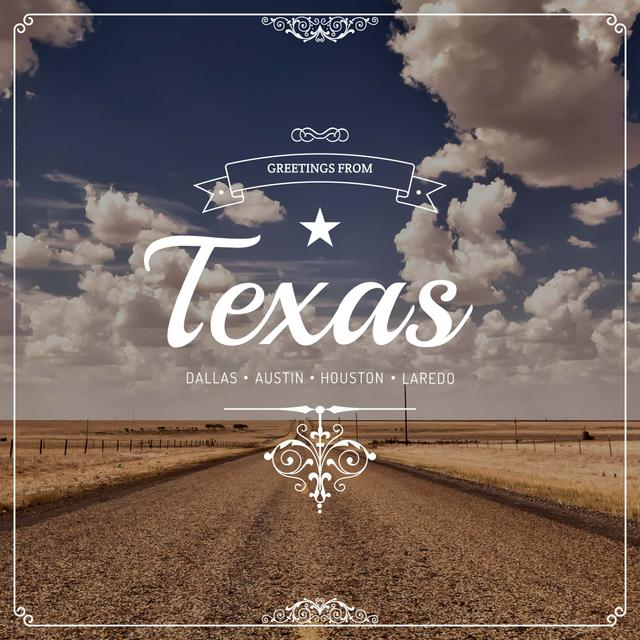 Designvorlage Greetings from Texas with road view für Instagram AD