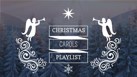 Szablon projektu Christmas Carols Playlist Cover Winter Forest and Angels Youtube Thumbnail