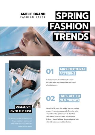 Spring Fashion Trends with Woman in white Newsletter Design Template