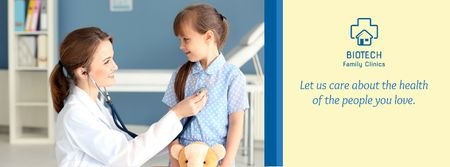 Designvorlage Kids Healthcare with Pediatrician Examining Child für Facebook cover