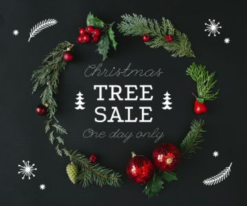 Christmas Tree Sale Decorated Wreath | Large Rectangle Template