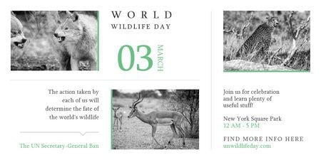 Ontwerpsjabloon van Twitter van World Wildlife Day with Animals in Natural Habitat