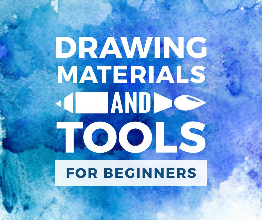 Drawing Materials Watercolor Background in Blue — Modelo de projeto
