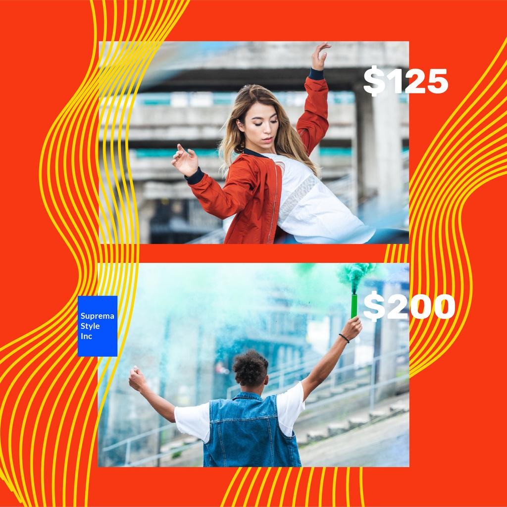 Fashion Ad with Stylish Couple in city — Crear un diseño