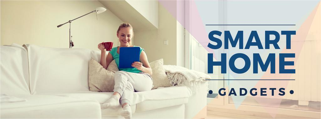 Smart home gadgets with Woman on sofa — Crear un diseño