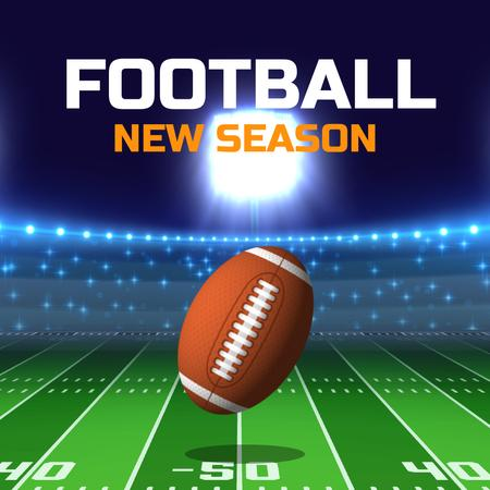Football Season Announcement with Rugby Ball on Field Animated Post Design Template