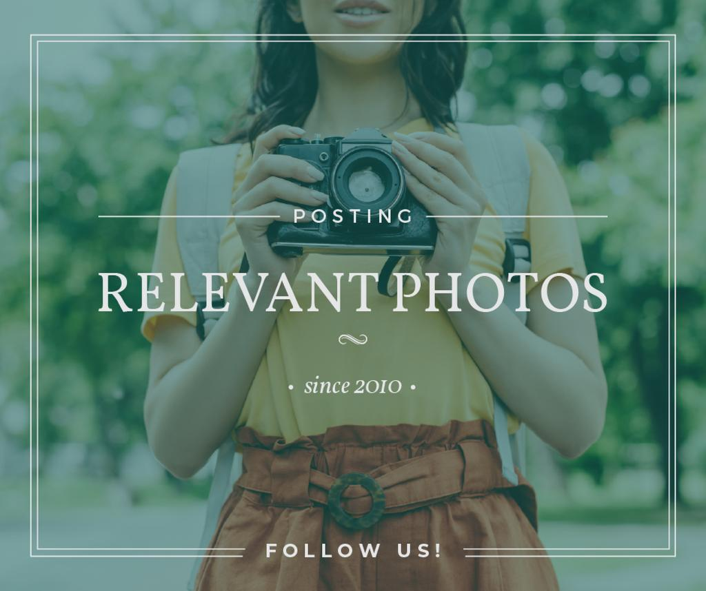 Photo blog ad Woman with Vintage Camera — Create a Design