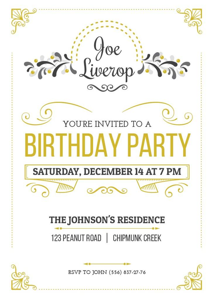 birthday party invitation card flyer 5x7in template