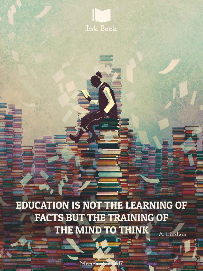 Template di design Education Inspiration Man on stack of Books Poster US