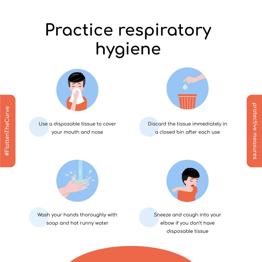 #FlattenTheCurve Disease prevention instruction with Man sneezing — Maak een ontwerp