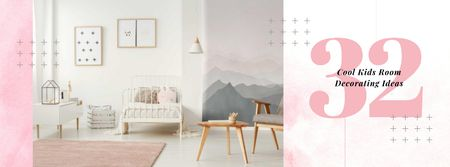 Cozy nursery Interior in pink Facebook coverデザインテンプレート