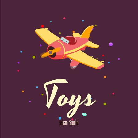 Flying Toy Plane in Purple Animated Post Modelo de Design