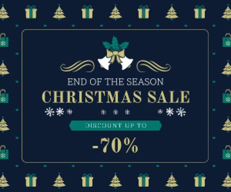 Ontwerpsjabloon van Medium Rectangle van Christmas Sale Announcement Frame with Trees and Gifts