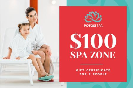 Plantilla de diseño de Spa Zone Offer with Mother and Daughter in Bathrobes Gift Certificate
