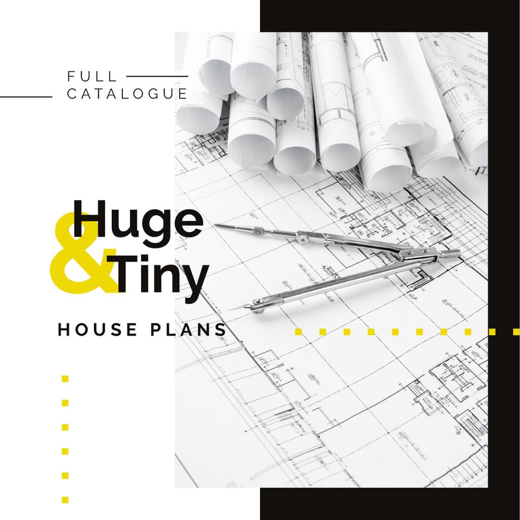 House plans Architectural prints on table — Modelo de projeto