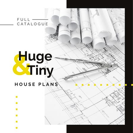 House plans Architectural prints on table Instagram ADデザインテンプレート
