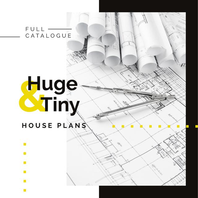 House plans Architectural prints on table Instagram AD – шаблон для дизайна