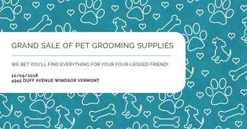 Sale of pet grooming supplies on Cute pattern