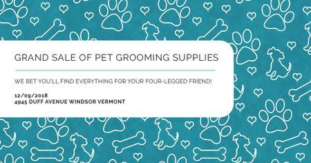 Sale of pet grooming supplies on Cute pattern Facebook AD Modelo de Design