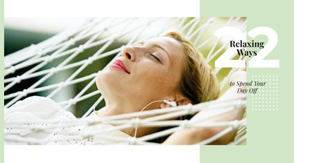 Designvorlage Relaxing Tips with Woman Resting in Hammock für Facebook AD