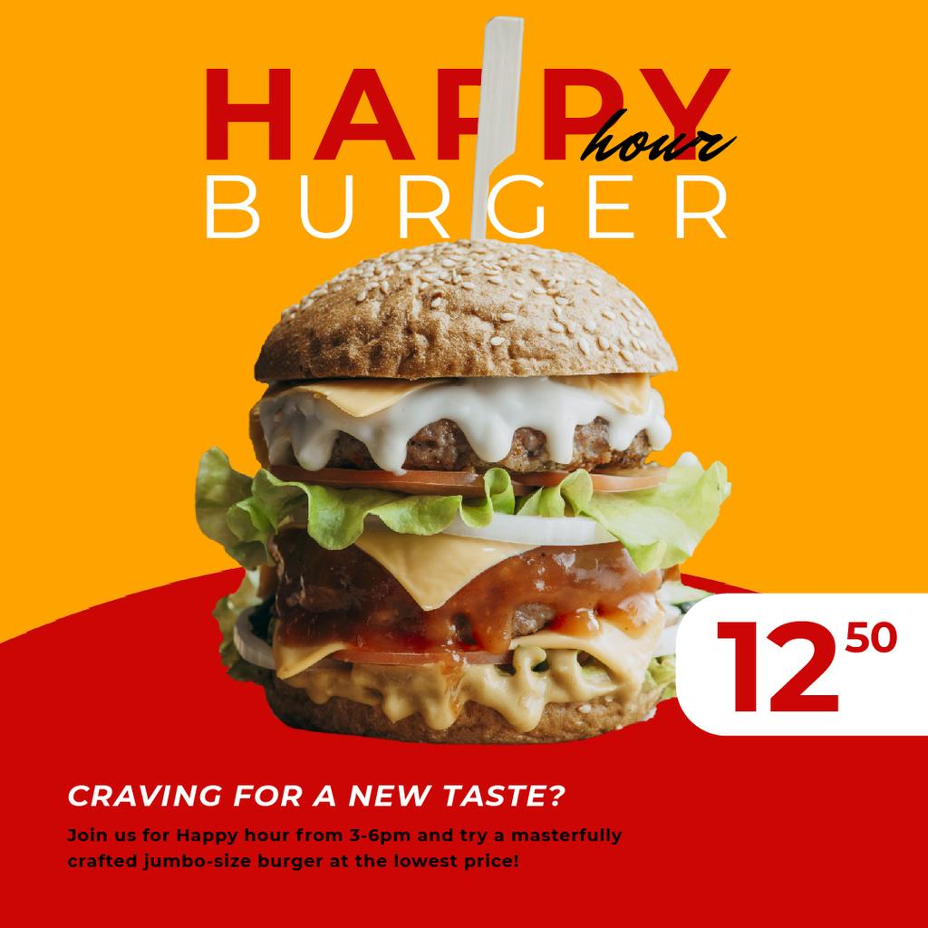 Happy Hour Offer with Mouthwatering Burger — Crear un diseño