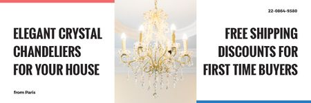 Elegant Crystal Chandelier Ad in White Email header – шаблон для дизайну